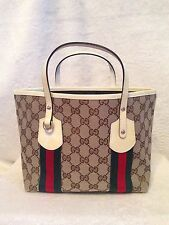 *NEW* GUCCI Small Tote Logo Canvas Handbag, Red Green, Cream Patent Leather