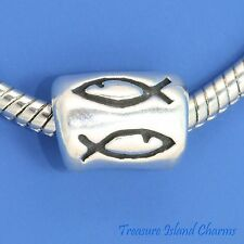 CHRISTIAN FISH .925 Solid Sterling Silver EUROPEAN EURO Spacer Bead Charm
