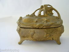 Large Antique Victorian Metal Holly Jewelry Trinket Ring Box Casket Pink silk