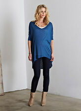 """New ISABELLA OLIVER Maternity Metal Blue """"Kim"""" Slouchy Tunic Top 2 US-4/6 ;UK-10"""