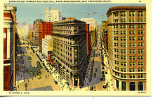 Market & Post Street Scene-Buildings-San Francisco-California-Vintage Postcard