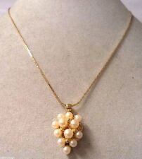 STUNNING VINTAGE ESTATE GOLD TONE FAUX PEARL CLUSTER GRAPES NECKLACE!!! WGA3246