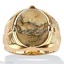 MENS 14K GOLD PLATED JASPER RING  SIZE 8 9 10 11 12 13