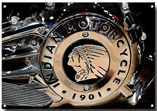 """INDIAN MOTORCYCLE ENGINE"" Alta Lucentezza finitura belle arti in metallo segno.27"