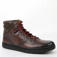 New Gucci Men's Shaded Brown Leather Hi-top Sneakers Boots 8.5G/US 9 368496 2140