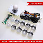 Arcade Diy kits parts USB Encoder + 8 Way Joystick + 10 LED Light Buttons White