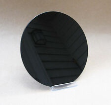 """Black Glass Scrying Mirror 6"""" NEW Small Flat Round Mirror Magic Divination"""
