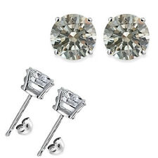 1 Carat Round White CZ 5MM Sterling Silver White Gold Plated Stud Earrings