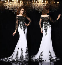 New Women Long Sleese Chiffon Lace Formal Party Prom Gown Evening Dress