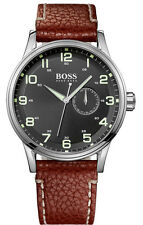 Hugo Boss Black Dial Silver Stainless Steel Leather Quartz Men's Watch 1512723