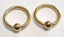 Pair Gold Titanium Rook Tragus Cartilage Earring Hoops Captives 16 gauge 16g 8mm