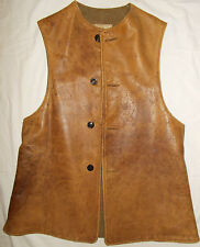 Jerkin Leather Vest World War I 1918 VNTG Mens 40R Military Wool Cohen Brother