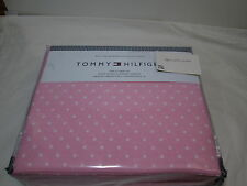 New Tommy Hilfiger DOTS Twin XL Extra Long Sheet Set ~  White Polka Dots on Pink
