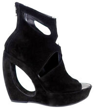 $1445 NIB ANN DEMEULEMEESTER Black Suede Cutout Wedge Ankle Booties Boots,sz.40