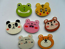 SALE 24 pcs Cute Animal Patterned Wood Scrapbooking // Sewing Buttons 20mm