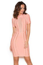 HOUSE OF CB 'Rayane' Pink Bandage and Mesh Dress 'FAULTY' SS 5736