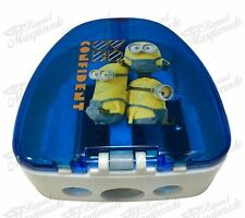 Minions Kids Boys School Pencil & Crayon 3 in 1 Sharpener - Royal Blue