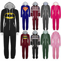 UNISEX ONESIE SUPERMAN BATMAN Hooded ZIP All In One MEN WOMENS Playsuit Jumpsuit