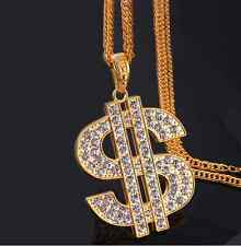 NEW Hip Hop 18k Gold Plated Rhinestone dollar sign Pendant Chain Necklace N77