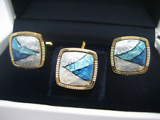 Beautiful Vintage Japanese Cased SHIPPO Gold & Glass Enameled Cufflinks Tie Pin