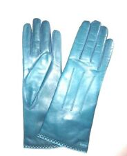 $98 COACH Women's Cashmere Lined Leather size 8 moroccan blue OBL gloves 83875