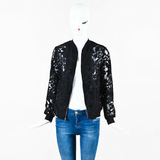 Clover Canyon NWT Black Sheer Floral Embroidered Zip Up Bomber Jacket SZ S