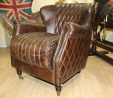Genuine Leather Wingback Chair Chesterfield Brown Vintage Antique Style Arm Tub