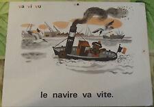 Ancienne Affiche Élocution Lecture MDI N°17/18 Le Navire va Vite ( v,b, dans)