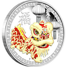 AUSTRALIA 2016 $1 CHINESE LION DANCE 1 OZ SILVER PROOF COIN
