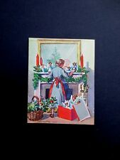 Unused Erica Von Kager Brownie Xmas Greeting Card Taking Down Holiday Decoration