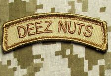 DEEZ NUTS TAB US ARMY USA ISAF DESERT VELCRO® BRAND FASTENER MORALE PATCH