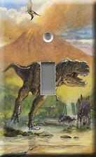 Single Light Switch Plate Cover - Dinosaurs In River