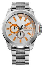 Men's HUGO BOSS Watch Stainless Steel Silver/Orange 50mm 1513012