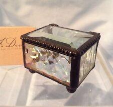 """J. Devlin Glass Box Clear Iridized Mini 2.25"""" x 1 5/8"""" x 1.5"""" Beveled Top $19.99"""