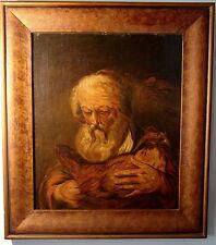 Barock Potraet bärtiger Mann mit Huhn Öl Holz Städt. Museum Aachen