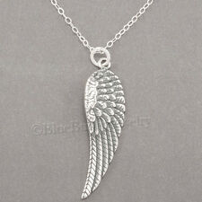 "ANGEL WING Faith Charm Pendant 925 STERLING SILVER 18"" chain Necklace 1 1/4"""