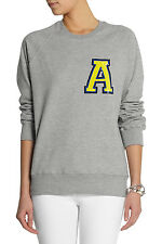 New Markus Lupfer Women`s Collage Letter `A` Sequin Sweatshirt Grey Size M