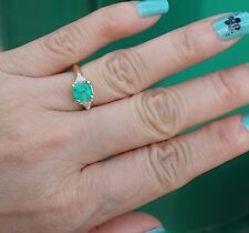 1.5ct Light green color emerald .20ct Trilliant diamond ring 14k YG.