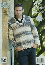 KNITTING PATTERN Mens Long Sleeve V-Neck Jumper EASY KNIT Super Chunky KC 4292