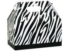 "6ct. Black & White ZEBRA Print Gable Gift Boxes Tote Containers 9-1/2"" x 5"" x 5"""