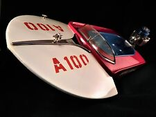 Vintage 1954 ATWOOD Speed Boat A100 Outboard 051 model engine blue tin toy motor