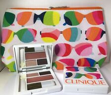 CLINIQUE Sunglass Makeup Bag+ 2x Morning Java/Sunset Glow Eyeshadow/fig Palette