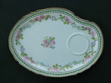 "Vintage 9 1/2"" Palette-Shaped Tray-Ahrenfeldt-Limoges-Pink Flowers-c 1894-1930s"