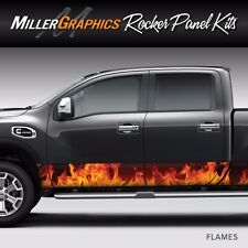 Flames Fire (Orange) Rocker Panel Graphic Decal Wrap Kit for Truck SUV