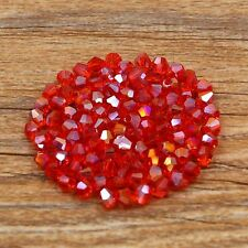 Swarovski 5301# 4 mm Bicone Crystal beads 100 Pieces Red AB