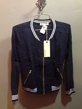 $110 NWT SoLow Brand Solid Blue Baseball Jacket Size S