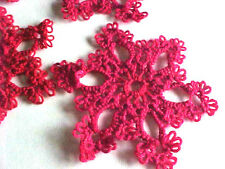 """1 New Shuttle Tatted SnowFlake Red Christmas HolidayTatting 2 1/2"""" Dove Country"""