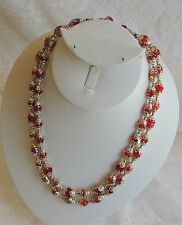 Vintage Red Aurora Borealis Faceted Glass Beaded Gold Filigree Trim Necklace 17""