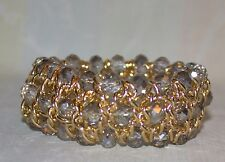 """Gold and Crystal Bead Bracelet - Stretchy - 7"""" Unstretched"""