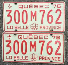 AUTHENTIC CANADA 1976 QUEBEC PAIR OF LICENSE PLATES. MONTREAL OLYMPIC 300-M-762
